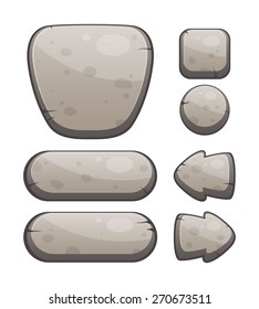 Vector Illustration of a Set of Stone Buttons for Web or Game Design