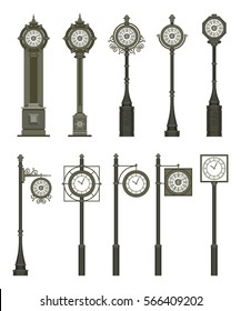 Vector illustration of a set of street signs, clocks and lamps on a pole on a white background