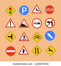 Vector illustration set of street signs.backgroud orange