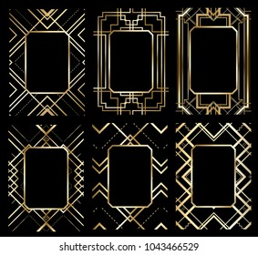vector illustration set of stylish retro frames. the design of graphics in the style gatsby art deco. decoration for vintage parties: invitations, posters, flyers, booklets, cards.