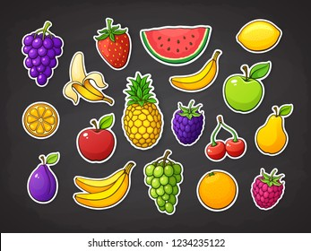 Vector illustration set of summer fruits. Strawberry, raspberry, blackberry, cherry, watermelon, apple, pear, banana, orange, lemon, pineapple, plum, grape, slice of watermelon. Stickers with contour