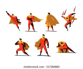 Vector illustration set of Superhero actions, different poses, business power icons set,  cartoon colored style, red and orange costume