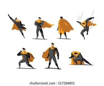 Vector illustration set of Superhero actions, different poses, business power icons set,  cartoon colored style, grey and yellow costume