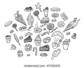 Vector illustration set of sweets. Painted by hand in the doodle.Sweets on a white background. Sweets vector. Sweets doodle. Sweets illustration.Sweets isolated.Sweets icon. Sweets logo. Sweets.