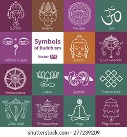 Vector illustration. Set symbols of Buddhism white outline. Oriental symbols.