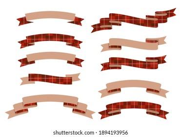 Vector illustration set of tartan check ribbon frames.