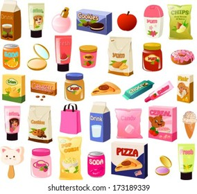 Vector illustration of a set of a teenage girl's stereotypical food items.