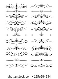 Vector Illustration. Set of text delimiters and ornamental calligraphic lines and floral elements.