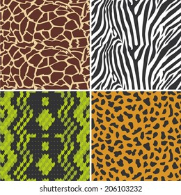 Vector illustration of a set of textures animal skin