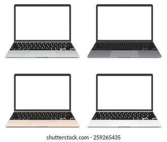 Vector illustration, Set of thin Laptop with blank screen isolated on white background, in silver, grey, gold and white color of aluminium body.