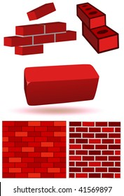 Vector illustration set of three dimensional bricks and brick wall. All objects and details are isolated. Colors and white background color are easy to adjust/customize.