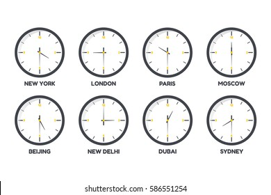 Vector illustration of set  time zone clocks