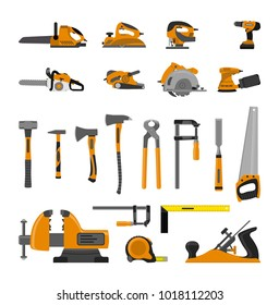Vector illustration. Set of tools for the carpenter. Flat design.