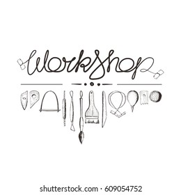 Vector illustration, set of tools for working with clay on the potter's wheel, sculpture tools. Pottery workshop, inscription, lettering design. Hand-drawn sketches, doodle, isolated.