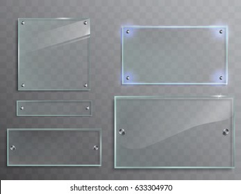 Vector illustration set of transparent glass plates, panels with metal accessories isolated on translucent background
