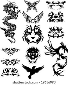 Vector illustration of a set of tribal tattoo