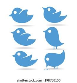 vector illustration set tvitter blue bird on a white background eats