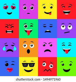 Vector illustration of Set of twelve colorful square emoji icons