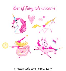 Vector illustration set of unicorns and magic on a white background