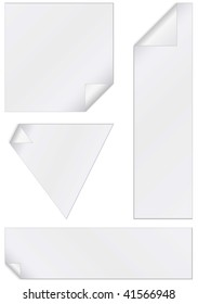 Vector illustration set of unprinted stickers with peeled corners. All objects and details are isolated. Colors and white background color are easy to adjust/customize.
