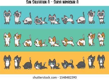 Vector illustration set of variation colours of house domestic cats in many positions of yoga (sun salutation B ,surya namaskar B).Flat cat cartoon colorful vector illustration