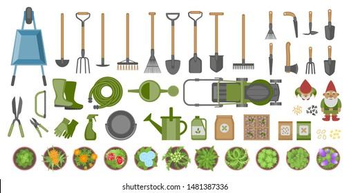 Top View Gardening Tools Stock Vectors Images Vector Art