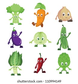 A vector illustration of a set of vegetables characters