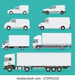 Vector illustration set of Vehicles. Cargo Truck and Van.