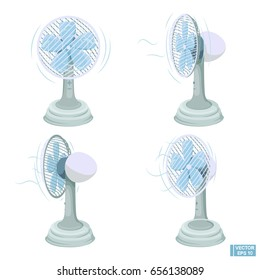 Vector illustration. A set of ventilator in different projections. Isolated isolated objects on white background. Fans for the room