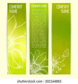 vector illustration. Set of  vertical banners  with blurred  background and flower and butterfly sketch