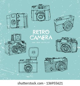 Vector illustration, a set of vintage cameras, painted by hand.