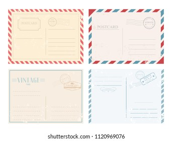 Vector illustration set of vintage postcards with stamps in retro design and pastel colors on white background.
