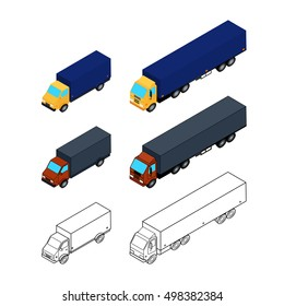 Vector illustration. Set of web icons trucks in different styles. Colorful, outline. Isometric, 3D