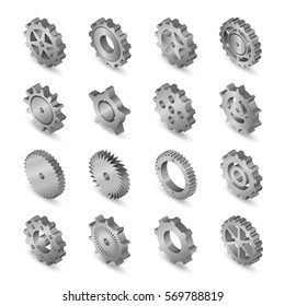 Vector illustration. Set of web icons metal mechanical gears on a white background. Isometric, 3D.