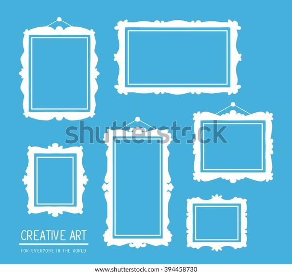 Векторная иллюстрация набора белых прямоугольных рамок на синем фоне. Художественный дизайн для веб, сайта, рекламы, баннера, плаката, флаера, брошюры, доски, карты, бумаги печати.