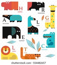 Vector illustration. Set of wild animals on a white background. Flat design. English alphabet. English letters.