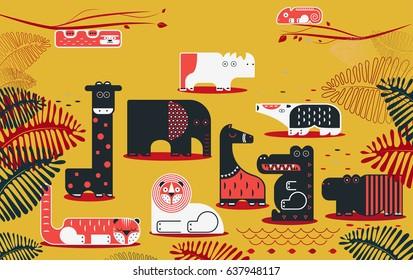 vector illustration. set of wild animals. flat design.