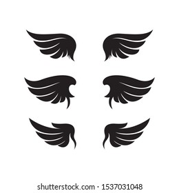 vector illustration set wing silhouette