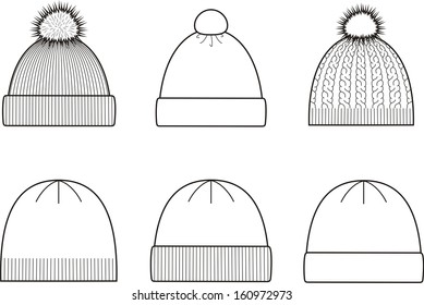 Set of winter knitted caps. Head-wear 4385da740601
