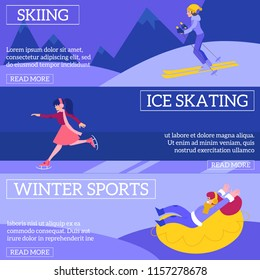 Vector illustration set of winter sports and active leisure horizontal banners with young women skiing, skating and riding on snow tube outdoors in flat style - healthy lifestyle seasonal posters.