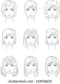 Vector illustration. Set of women's faces. Different hairstyles