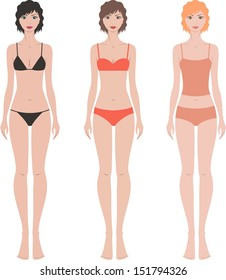 Vector illustration. Set of women's fashion figures in underwear