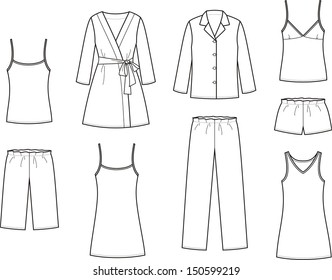 Vector illustration. Set of women's sleepwear