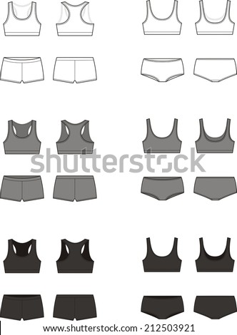 Vector illustration. Set of women s sport underwear. Bra and shorts. Different  colors. Front and back views - Vector 0ab1625c8