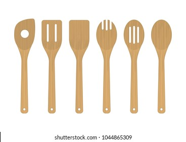 Vector illustration. Set of wooden kitchen tools.