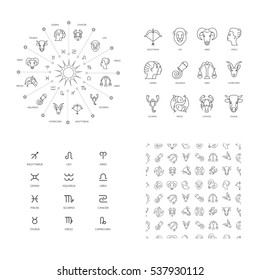 Vector illustration set zodiacal icons , zodiacal symbols, Zodiacal circle.