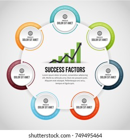 Vector illustration of Seven Process Circle Clips Infographic design element.