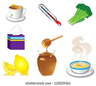 Vector Illustration of seven Sick Cold Flu Health Icons.
