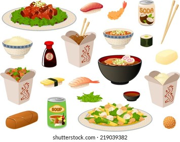 Vector illustration of several asian food items/dishes.