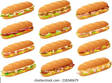 Vector illustration of several different kinds of subs/ sandwiches.